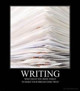 writing pile of papers
